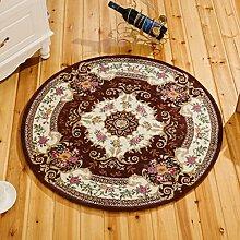Innenteppich Runder Bereich Teppich, europäischer Teppich rutschfester runder Computer Stuhl Stuhl Kissen Blumenteppich (80 * 80cm) Decke ( Farbe : F , größe : 160cm )