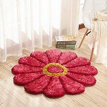 Innenteppich Schöne 3D Rose Teppich Blume Teppiche für Wohnzimmer Stretch Garn Teppiche Tür Matte Kinder Bildung Teppich Runde Stuhl Matte Decke (Farbe : #4, größe : Diameter100cm)