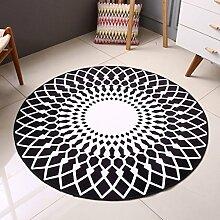 Innenteppich Teppich-kreativer runder Wohnzimmer-Teppich-Ausgangsart- und weiseteppich-Bettdecke-Teppich-Schlafzimmer-Wolldecke Decke ( Farbe : Schwarz , größe : 160*160cm )