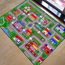 Innenteppich Urban Traffic Track Teppiche Kinder Schlafzimmer Schlafzimmer Teppich Baby Game Pad Auto Decke Decke ( Farbe : C , größe : 100*133cm )