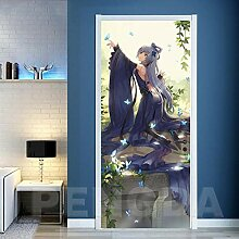 Innentüraufkleber Anime Frau 88x200cm Kunst Tür