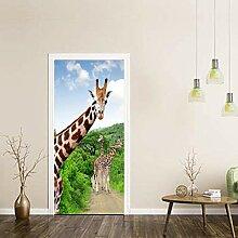 Innentüraufkleber Grüne Regenwaldgiraffe