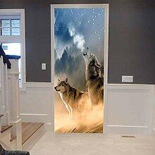 Innentüraufkleber Rauchwaldtierwolf 88x200cm