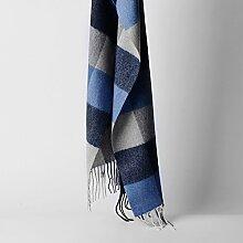 Innere Mongolei Gerade Winter Warme Wolle Geschenk Männer Karierten Schal , blau