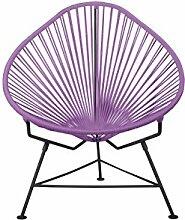 INNIT Acapulco Stuhl mit Schwarz Rahmen, Orchidee,