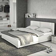 Innocent Polsterbett aus Kunstleder weiß 180x200cm mit LED und Lautsprecher Caspani mit Lattenros