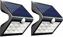 InnoGear Zweite Version 14 LED Solarleuchten mit Rückprojektion Außenbewegungssensor Aktivierte Sicherheit Nachtlicht Auto Ein / Aus Wandleuchte für Pfad Patio Yard Deck Veranda Gartenzaun, 2er Pack