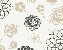 Innova 1433-10 Tapete, florales Muster, weiß