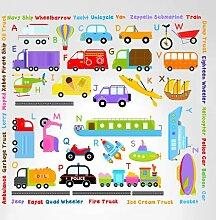 Innovative Schablonen 3004Cars Transport Alphabet Abziehen und Aufkleben Wand Kinderzimmer Kinder Educational Aufkleber Aufkleber von Innovative Schablonen
