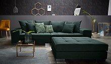 INOSIGN Big-Sofa Vale Samtvelours, 277 cm grün