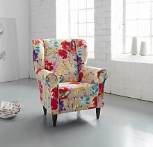INOSIGN Ohrensessel Struktur / Blume bunt Sessel