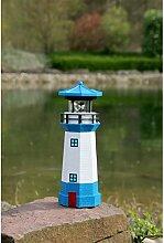 insatech Solar LED Leuchtturm für den Garten beleuchtet mit drehendem Leuchtfeuer 26cm Höhe