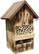 Insektenhotel BD geflammt gebrannt schwarz natur Gartendeko Nistkasten Gartendeko als Ergänzung zum Meisen Nistkasten Meisenkasten oder zum Vogelhaus Vogelfutterhaus Futterstation für Vögel, als umweltfreundliches Mittel gegen Blattläuse, ideal für die Beobachtung von Insekten Schmetterlingen Marienkäfer für die ökologische Blattlausbekämpfung, ein toller Insektenkasten - Insektenhaus - Schmetterlingskasten - Marienkäferkasten - Schmetterlingshaus - Gartendeko - Gartendekoration