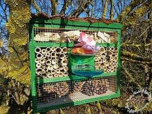 Insektenhotel, Insektenhaus als funktionale Gartendeko mit Futterstation und Holzrinde-Naturdach robust, FDV-STATION-OS grasgrün Marien Käfer grün Garten grüner Nistkasten Insekten als Ergänzung zum Meisen Nistkasten Meisenkasten oder zum Vogelhaus Vogelfutterhaus Futterstation für Vögel, als umweltfreundliches Mittel gegen Blattläuse, ideal für die Beobachtung von Insekten Schmetterlingen Marienkäfer für die ökologische Blattlausbekämpfung