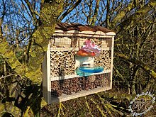 Insektenhotel mit Futterstation und Holzrinde-Naturdach robust, FDV-STATION-OS HOLZ Nistkasten natur Insekten Schmetterlinge Gartendeko als Ergänzung zum Meisen Nistkasten Meisenkasten oder zum Vogelhaus Vogelfutterhaus Futterstation für Vögel, als umweltfreundliches Mittel gegen Blattläuse, ideal für die Beobachtung von Insekten Schmetterlingen Marienkäfer für die ökologische Blattlausbekämpfung