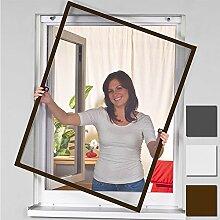 Insektenschutz Alu Rahmen für Fenster SmartLINE Fliegengitter Spannrahmen mit Fiberglasgewebe kürzbar Insektenfenster ohne Bohren, Farbe:Braun, Größe:100 x 120 cm