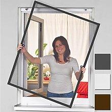 Insektenschutz Alu Rahmen für Fenster SmartLINE Fliegengitter Spannrahmen mit Fiberglasgewebe kürzbar Insektenfenster ohne Bohren, Farbe:Anthrazit, Größe:100 x 120 cm