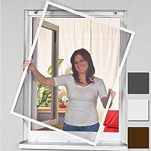 Insektenschutz Alu Rahmen für Fenster SmartLINE Fliegengitter Spannrahmen mit Fiberglasgewebe kürzbar Insektenfenster ohne Bohren, Farbe:Weiß, Größe:100 x 120 cm