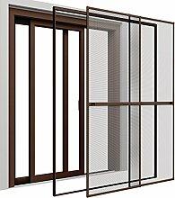 Insektenschutz Doppelschiebetür 230 x 240 cm mit ALU Rahmen in Braun Premium Fliegengitter Tür mit Klemmzarge Insektenschutztür zum Klemmen Montage ohne Bohren Länge kürzbar Farbwahl