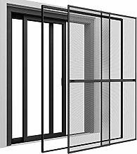 Insektenschutz Doppelschiebetür 230 x 240 cm mit ALU Rahmen in Grau Premium Fliegengitter Tür mit Klemmzarge Insektenschutztür zum Klemmen Montage ohne Bohren Länge kürzbar Farbwahl