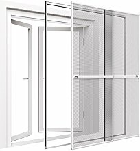 Insektenschutz Doppelschiebetür 230 x 240 cm mit ALU Rahmen in Weiß Premium Fliegengitter Tür mit Klemmzarge Insektenschutztür zum Klemmen Montage ohne Bohren Länge kürzbar Farbwahl