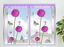 Insektenschutz Fenster Loewenzahn Fliegengitter Fenster mit Magnetverschluss Lila,60*120