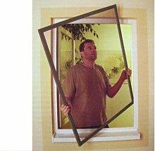 Insektenschutz-Fenster max. 100x120 cm Alurahmen Braun von Meindepo