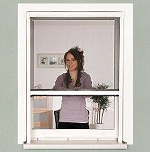 Insektenschutz Fenster Rollo 100 x 160 cm weiß Alu-Bausatz Klemmrollo + Fiberglasgewebe, kürzbar, ohne Bohren, stufenlos arretierbar
