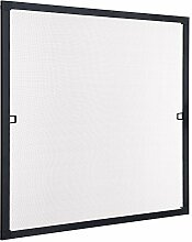Insektenschutz Fliegengitter Fenster Spannrahmen Schwarz, 75x75 cm (Breite X Höhe) RAL 9011