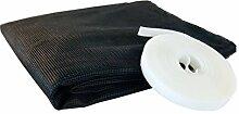Insektenschutz Fliegengitter Insektenschutzgewebe für Dachfenster, Reißverschluss Ermöglicht Durchgreifen, inkl. Selbstklebenden Montage-Klettband, Anthrazit, 130 x 150 cm, Windhager 03433