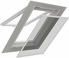 Insektenschutz für Dachfenster 140 x 170 cm Alu Profil in weiß bedampftes aluminiumbedampftes Fliegengitter für Sonnenschutz