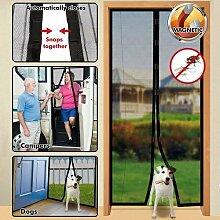 Insektenschutz für Tür Magnetverschluss–Schwarz