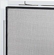 Insektenschutz fürs Fenster: Stabiles Fliegengitter zur einfachen Selbstmontage, Alurahmen in Weiß mit den Maßen 120 x 140, hochwertiges Fiberglas-Gewebe in Schwarz für bessere Durchsich