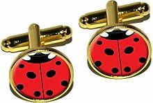 Insektenschutz Lady Bug-Marienkäfer-Manschettenknöpfe, rund, goldfarben
