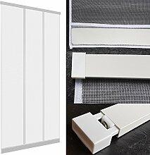 Insektenschutz Lamellenvorhang 100 x 220 cm mit ALU Klemmleiste Türvorhang mit Fiberglas Lamellen und eingenähten Gewichten - in weiß oder anthrazit, Farbe:Weiß