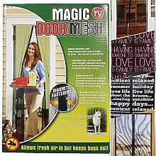 Insektenschutz Magnetvorhang 99 x 210 cm Türvorhang kürzbar mit selbstschließender Funktion leichte Montage ohne Bohren - Motiv wählbar (Standard), Muster:Happy Days