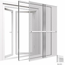 Insektenschutz Tür 230 x 240 cm Premium Doppelschiebetür mit Klemmzarge: Montage ohne Bohren - Farbe wählbar, Farbe:Weiß