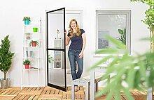 Insektenschutz Tür Master Slim + 100 x 210 cm mit Alurahmen in Weiß, Anthrazit oder Braun und stabilen Eckverbindungen, Fliegengittertür in den Varianten Bausatz, auf Maß zugeschnitten und komplett aufgebau