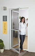 Insektenschutztür Fliegengitter Tür Insektenschutz SLIM Alurahmen 100 x 210 cm OHNE BOHREN (Rahmenfarbe braun)