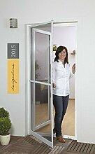 Insektenschutztür Fliegengitter Tür Insektenschutz SLIM Alurahmen 100 x 210 cm OHNE BOHREN (weiß)