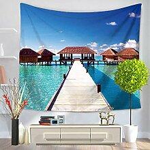 Insel Tapisserie 100% Polyester–memorecool Haustierhaus Blue Sky Strand Urlaub Design Summer Feelings 1149,9x 129,5cm, Polyester, island9, 59x79inch