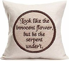 Inspirational Quotes Cotton Linen Embroidery- Like
