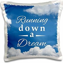 InspirationzStore Sports - Running down a Dream typography text on sky blue - Gifts for runners - running race racing marathon - 16x16 inch Pillow Case (pc_161538_1)