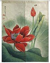 Insun Tür Vorhänge Japanische Noren Tapisserie Baumwolle Leinen Zimmer Divider Lotus 2 70cm X 120cm