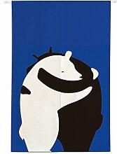 Insun Tür Vorhänge Japanische Noren Tapisserie Baumwolle Leinen Zimmer Divider Liebesumarmung der Bären 85cm X 120cm