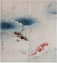 Insun Tür Vorhang Japanische Noren Tapisserie Baumwolle Leinen Zimmer Divider Karpfen Spielen wasser 2 80cm X 120cm