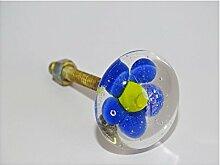 int. d'ailleurs - klein Möbelgriff gelb transparente blaue Blume - KNBDIV011
