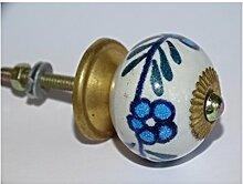 int. d'ailleurs - Möbelgriff 3 türkis blauen Blüten - KNB097