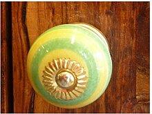 int. d'ailleurs - Porzellan Schubladen knöpfe acidulé gelb grün Apfel - KNB516