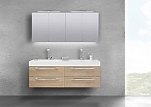 Intarbad Badmöbel Set Doppelwaschtisch 160 cm mit 4 Auszügen und Spiegelschrank